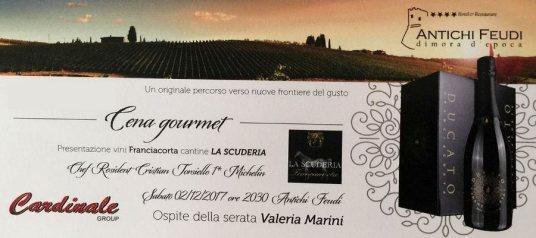 Cena degustazione con Franciacorta La Scuderia e piatti Cristian Torsiello. Madrina Valeria Marini