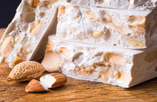 Torrone or nougat with nuts.