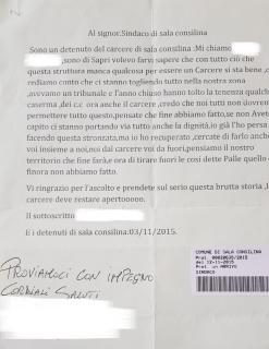 CARCERE DI SALA CONSILINA, LETTERA DI UN DETENUTO AL SINDACO