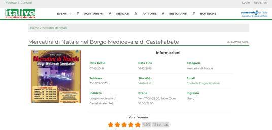 Mercatini di natale Castellabate su Italive.it